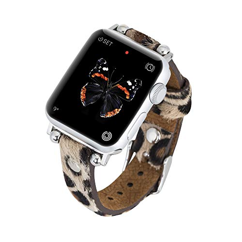 Venito Perugia Premium Leather Slim Watch Band Strap w/ Gold Studs Compatible w/Apple Watch Series 1,2,3,4,5,6 w/ Stainless Steel Hardware (Furry Leopard w/Silver Connector & Clasp, 42mm-44mm)