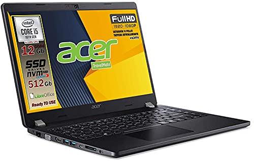 Notebook Acer pc portatile SSD, Intel 4 Core i5 10210U fino a 4,2 Ghz, RAM 12GB, SSD M.2 PCi 512GB, Display 14' Full HD, tastiera retroilluminata, 3 usb, wi-fi, hdmi, lan Win 10 pro, pronto all'uso
