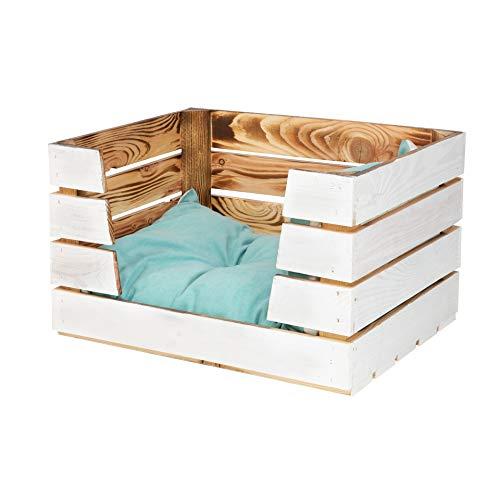 Vintage Möbel 24 GmbH 1x Hübsches Katzenbett aus Holz mit skandinavischem Flair, Holzkiste (Klein_InnenGeflammtAußenWeiß)