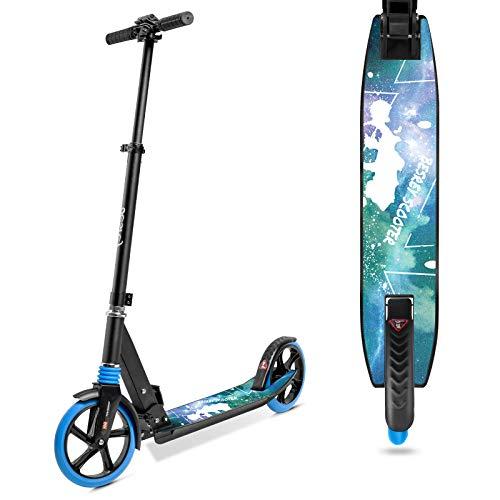 besrey Scooter Kickscooter Tretroller für Erwachsene Teenager ab 8 Jahren Faltbar Höhenverstellbar Cityroller City Roller 200mm Big Wheel Scooter - Blau