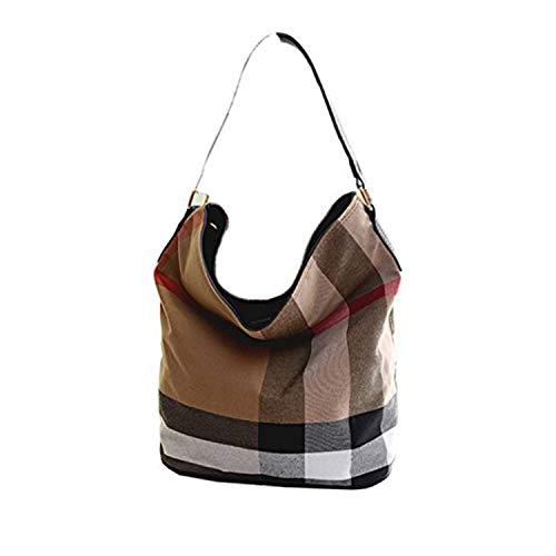 JOTHIN Modisch Canvas Damen schultertasche kariert Handtasche mädchen umhängetasche vintage henkeltaschen lässig damentaschen shopper Bucket Bag (schwarz)