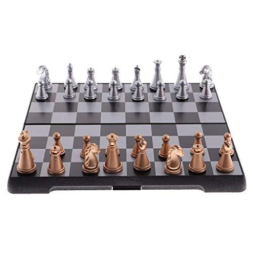 LINWEI Schachbrett Set magnetische Reiseschach Set mit faltenden Schachbrett & Schachfiguren Pädagogisches Spielzeug langlebige traditionelle Spiele