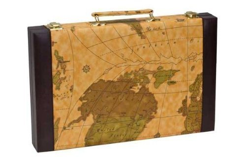 CHH Imports 15 Inch Backgammon Set In Brown Vinyl Map Design Case by CHH