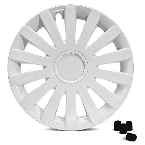 Weisse Tapacubos Tapacubos Wind White Plus (Blanco) con anillo cromado en 14pulgadas, 15pulgadas y 16pulgadas 4tapas de válvula en negro Incluye.
