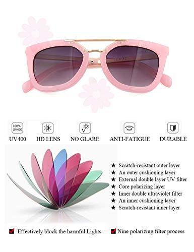 Kids Cat Eye Shades Fashion Sunglasses - UV400 Protection Classic Eyewear Children Costume for Girls Boys Age 6-12 besbomig