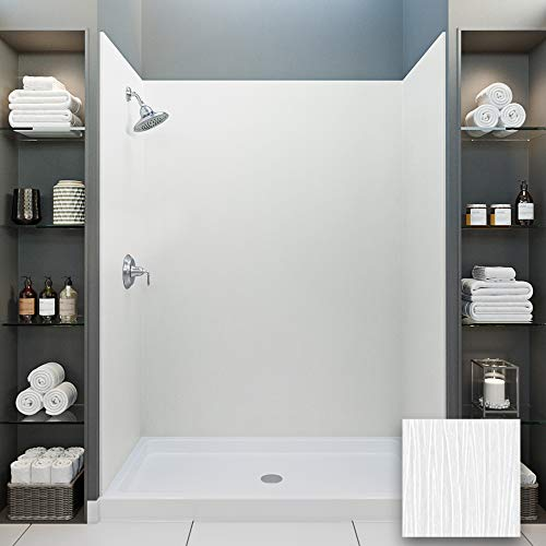 Best Deals! Mermaid Bath and Shower Walls Four Panel Shower Wall in 60 W x 32 D x 96 H in Birch B...