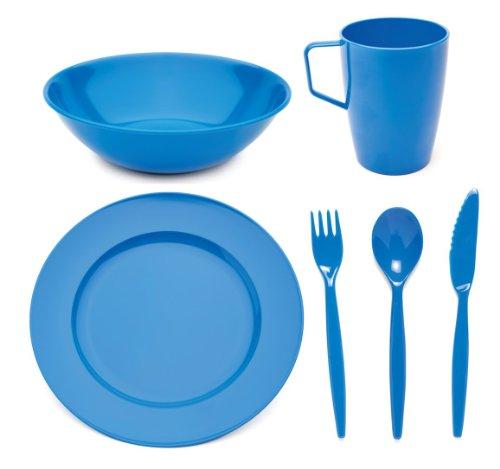 Harfield Scout and Girl Guide - Juego de vajilla de policarbonato (plato, tazón, taza y cubiertos), color azul
