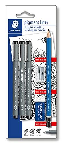 STAEDTLER 308 SBK3P artist Set mit 3 Pigment Linern Schwarz 0.3, 0.5, 0.7 und einem Bleistift (2B), einem Radierer und einem Spitzer Gratis
