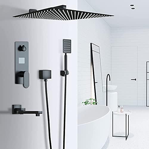 QQX 3-Wege Duschsystem Unterputz LCD Temperatur-Anzeige Schwarz Matt mit Quadrat 30cm * 30cm über Duschkopf Regendusche,Handbrause Dusche Armatur und Badewanne Duschset,Edelstahl und Messing