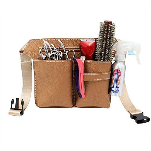 Barber Ceinture Bag New Professional Hair Scissors Leather Kit Case Shears Pockets Waist Belt Barber Packet Salon Holster Hairdressing Scissors Bag (Color: Black) for Hairdressing Cisors Hair Comb