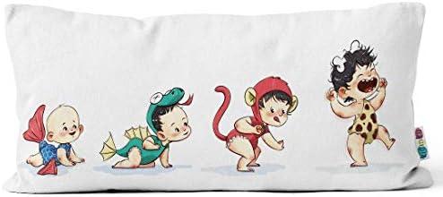 Kidinky Funda de cojín Infantil. Niños Animales Evolución 30 x 50 cm, 100% algodón, Lavable, con Cremallera Invisible