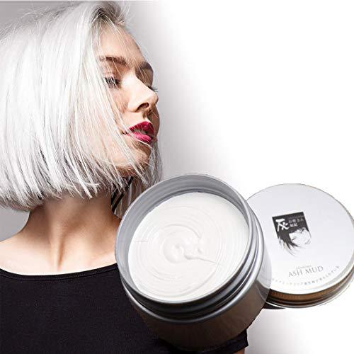 Temporäre Haarfarbe Farbstoff Non-permanent DIY Haarfarbe Wachs Schlamm Washable Farbiges Haarfarbe Creme Für Party Cosplay Halloween(weiß)
