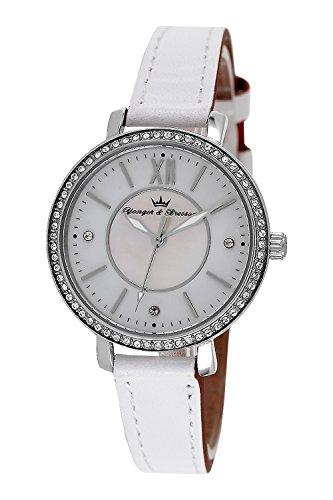 YONGER&BRESSON Damen Datum Norm Quarz Uhr mit Leder Armband DCC 049S/BB