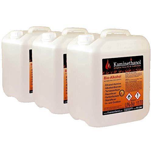 Kaminethanol Icking 30 Liter Bioethanol 96,6% (3 x 10 L) Premium Qualität - direkt vom Hersteller für Ethanol Kamine, Alkohol-Brenner, Terrasenfeuer, Raumfeuer und Gartenfackeln