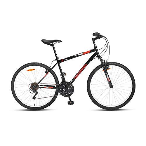 Bicicleta, Bicicleta de montaña, Bicicleta de choque de 18 velocidades, Con marco de acero con alto contenido de carbono, Freno de disco doble, Para adultos y adolescentes, no es fácil de deforma