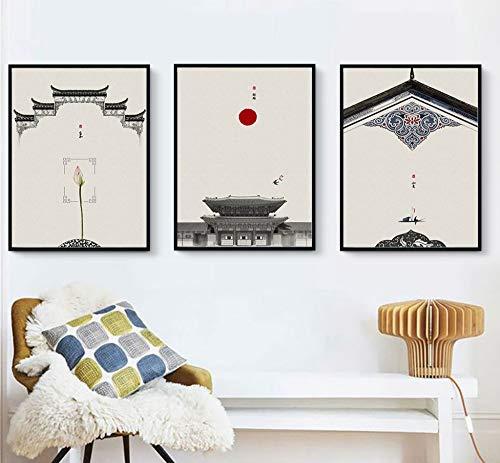 ZSHSCL canvasdruk, Chinese antieke architectuur, rode lantaarn, print, muurkunst, moderne muurkunst, geen lijst voor kinder-, slaap- en achtergrond, wanddecoratie 40×50cm