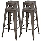 Vnewone Metal Bar Stools Set of 4 Counter Height Barstools Stackable Metal Chairs High Backless Dining Stool Bar Chair for Indoor Outdoor Patio Home Kitchen (30', Gun)