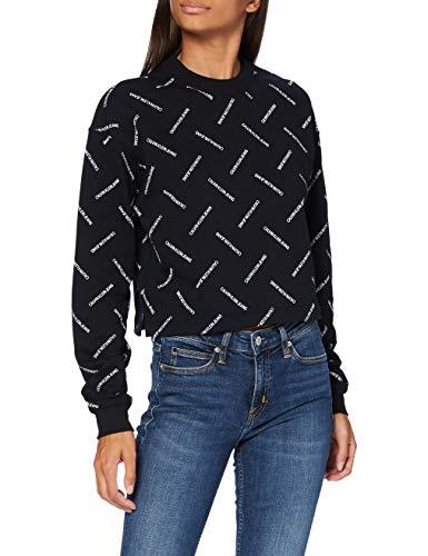 Calvin Klein Jeans Damen Diagonal Logo Cropped Crew Neck Pullover, Institutional Aop, M