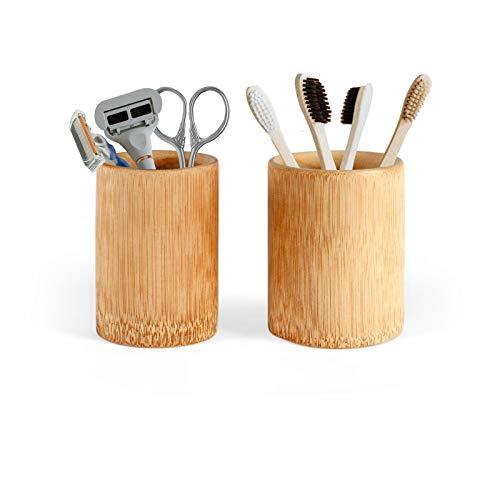 Bambus Becher Set je 100 ml Rund - 2 Trinkbecher aus Bambus Kinder Umweltfreundlich - Zahnputzbecher Holz Bad Zubehör 2 Teilig - Stiftehalter Schreibtisch 2er Set - 100% Bambus Natur Nachhaltig