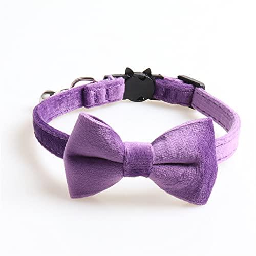 DHZYY Cuello de Gato, Collar de Perro, escapada con Bell Bowtie 6 Colores Ajustable Hebilla de Seguridad Velvet Soft Bow Collares for Gatito de Gato Perrito de Perro (Color : Purple, Size : A)