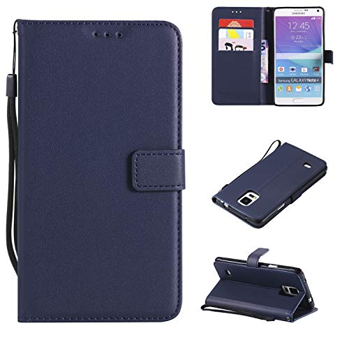 Leather Wallet Phone Case for Samsung Galaxy Note 5 with Credit Card Holder Slot Kickstand Folio Flip Cover and Cell Accessories Full Body Protective Silicone Glaxay Note5 Cases 5case Women Men Blue