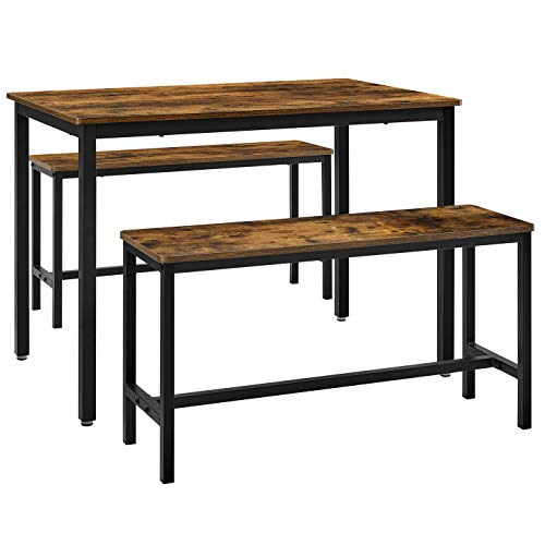 VASAGLE ALINRU Dining Table with 2 Benches, 3 Pieces Set, Kitchen Table of 39.4 x 27.6 x 29.5 Inches, Bench of 38.2 x 11.8 x 19.7 Inches Each, Industrial Design, Rustic Brown and Black UKDT070B01