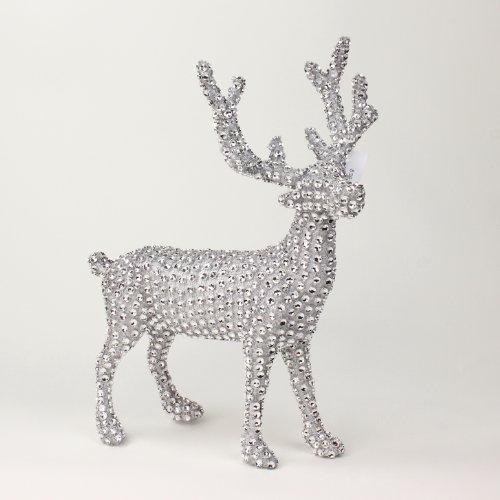 Renna con brillantini in argento, statuetta decorativa per Natale