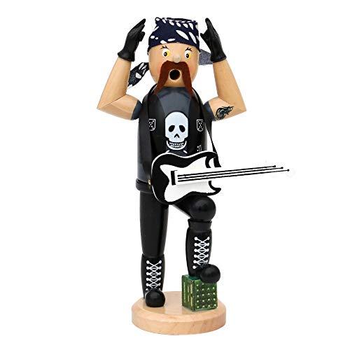 Dekohelden24 Personnage fumeur Rockeur (heavy metal) Env. 19 cm Objet traditionnel allemand de la période de Noël en forme de personnage en bois qui fume une pipe (la fumée provenant d'un cône d'encens allumé déposé dans le personnage) Rocker Lady