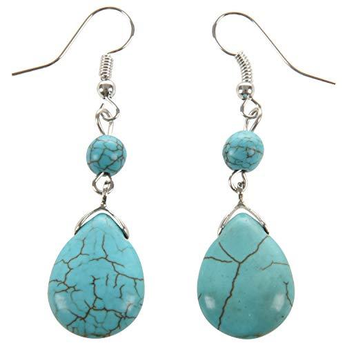 Senmubery Retro Pendientes Simples De Turquesa De Piedra Natural Con Gotas Pendientes De Piedra De Textura, Azul
