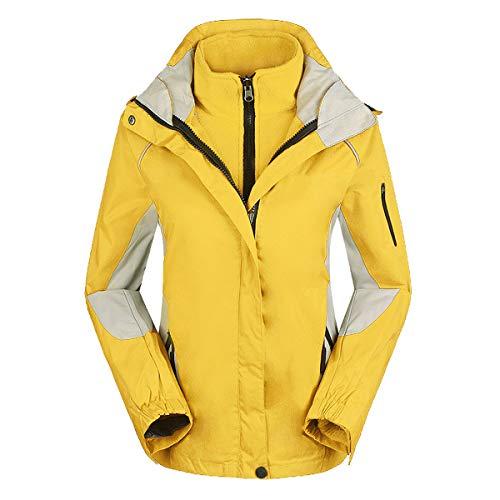 HAOXUAN Frauen wasserdichte Skijacke 2 in 1 Wintermantel Windbreaker Fleece Inner Warm Outdoor Sportmantel Anzug,Gelb,S