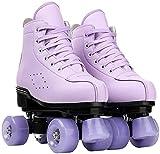 QAZW Patines De Ruedas para Mujeres y Hombres Zapatos De Caña Alta Patines De Ruedas Clásicos De Doble Fila Patines De Ruedas De Cuatro Ruedas para Hombres y Niñas Unisex,Purple1-35