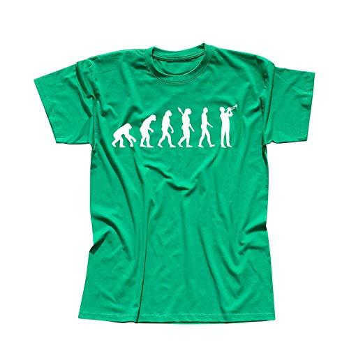 T-Shirt Evolution Trompeter Jazz Funk Big Band Musik 13 Farben Herren XS - 5XL Brass Ska-Punk Orchester Blechbläser Kornett Hobby, Größe:M, Farbe:grün - Logo Weiss