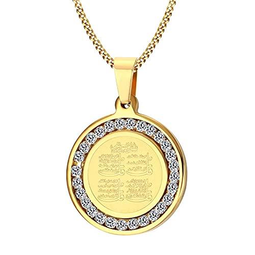 Collar de piedra deacero inoxidable con monograma islámico Hajj Umrah musulmán de plata de color doradopara hombre -43285