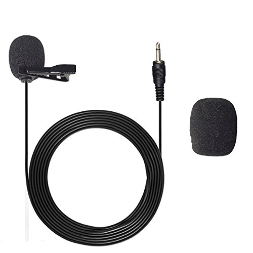 Professional Lavalier Lapel Microphone,Aodicen Unidirectional Condenser Microphone Recording Clip-On for Wireless Mic System/Amplifiers/Speskers/Mixers