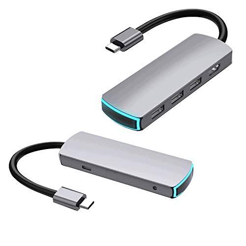 LOVSE HUB de expansión 6 en 1 Tipo-c a 4K HD-MI USB C HUB Converter Multifuncional de alta velocidad USB 3.0 Splitter USB 3.0 de alta velocidad Splitter para todos los ordenadores con tipo c