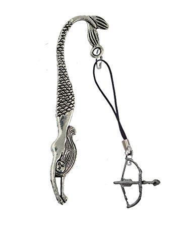 Gifts For All Gt282 Armbrust mit Bogen und Pfeil, 2,7 x 4,5 cm, aus feinem englischen Zinn, auf einem Meerjungfrau-Lesezeichen