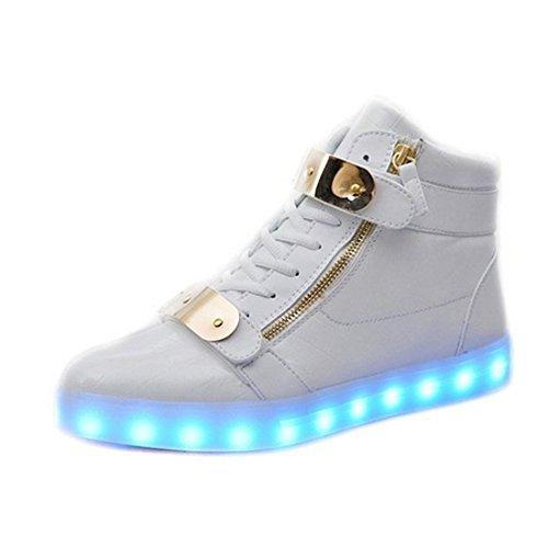 Padgene® Schuhe / Sneakers mit leuchtender Sohle, für Damen und Herren, aufladbar mit USB-Kabel, LED-Lichter, leuchten in 7Farben, weiß, EU 37/UK 3.5