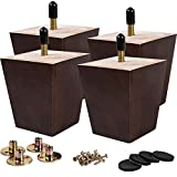 3 inch Wooden Furniture Legs, La Vane Set of 4 Solid Wood Square Walnut Mid-Century Modern M8 Replacement Bun Feet with Pre-Drilled 5/16 Inch Bolt & Mounting Plate & Screws for Couch Sofa Armchair