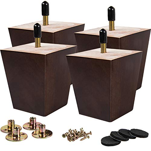 5 inch Wooden Furniture Legs, La Vane Set of 4 Solid Wood Square Walnut Mid-Century Modern M8 Replacement Bun Feet with Pre-Drilled 5/16 Inch Bolt & Mounting Plate & Screws for Couch Sofa Armchair
