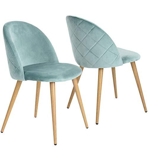 Juego de 2/4/6 sillas de terciopelo estilo escandinavo, patas de metal, silla de comedor (verde, 2)