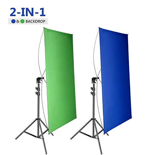 Neewer 39x55Inches/100x140CM Portable 2-in-1 Chromakey Blue/Green Backdrop Screen with 6.5Ft/200CM Light Stand Kit, 4 Flexible Rods/Bracket Included for Live Streaming, Studio/TikTok/YouTube/Videos