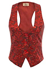 Women Jacquard Steampunk Retro Vest Jacket for Fancy Party Cosplay Slim Fit Button Down WaistCoat Please use size chart we offered instead of Amazon's size chart. Please select the size carefully before you purchase it! Thank you Features: Adjust str...
