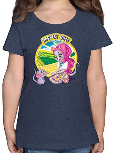 Enchantimals Mädchen - Harvest Hills - Mayla Mouse - 116 (5/6 Jahre) - Dunkelblau Meliert - Mayla Mouse & Fondue - F131K - Mädchen Kinder T-Shirt