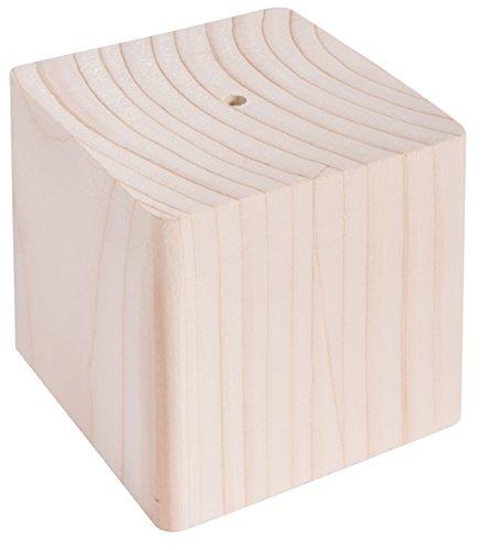 Rayher 62838000 Holz-Sockel massiv, 8x8x8 cm, mit Loch, Halterung für Sterne oder Kugeln am Stab, Holzblock aus Fichte, Holz-Würfel massiv, mit Loch für Metall- oder Holzstab