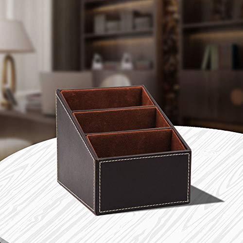 Organizador de Mando a Distancia con 3 compartimentos, Organizador de escritorio de oficina, compartimentos de almacenamiento Organizador de mesa de cuero de PU