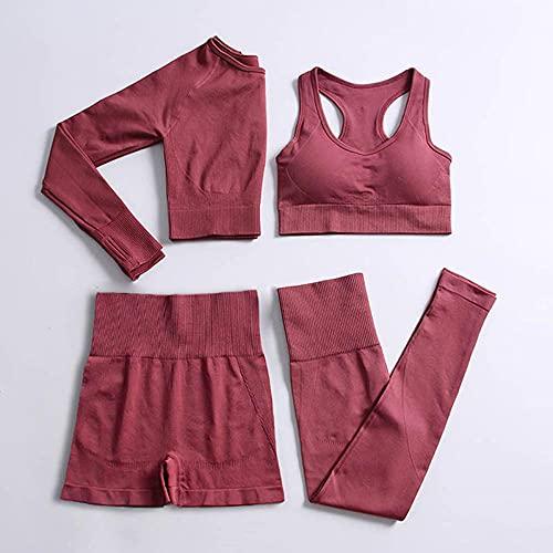 qqff Gym Gerippt Sport,Fitnesskleidung,vierteilige weibliche Yoga-Kleidung,Radsportbekleidung-red,Yoga Kleidung