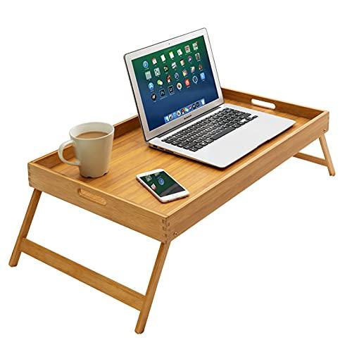 Mesa de bambú para portátil con patas plegables, bandeja de desayuno para sofá, cama, comer, trabajar, se utiliza como ordenador portátil, escritorio, bandeja de aperitivos para dormitorio (65 cm)