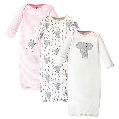 Touched by Nature Unisex Baby Organic Cotton Gowns, Girl Elephant, 0-6 Months US