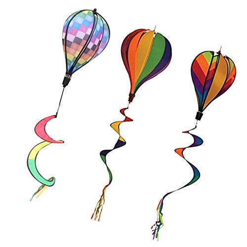 MagiDeal 3 Stück Verschiedene Windspiel Ballon Windrad Heißluftballon Twist Rainbow mit lockigen Schwanz - Mehrfarbig