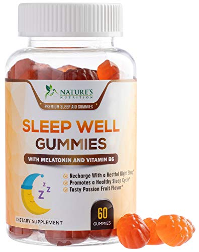 Sleep Support Melatonin Gummies Extra Strength Sleep Gummy with B6 and Passiflora - Natural Adult Sleeping Gummies - Best Vegan Non Habit Forming Sleep & Stress Support Supplement - 60 Gummies